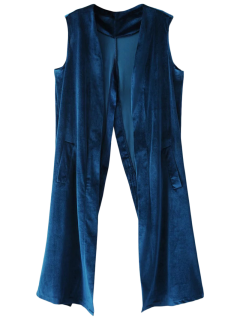 Velvet Back Slit Waistcoat - Lake Blue M
