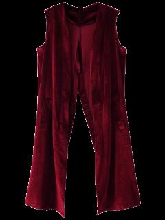 Velvet Back Slit Waistcoat - Burgundy M