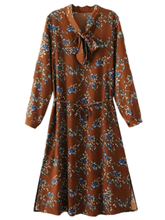Printed Tie Neck Long Sleeve Dress - Deep Orange