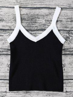Color Block Knitted Ribbed Tank Top - Black