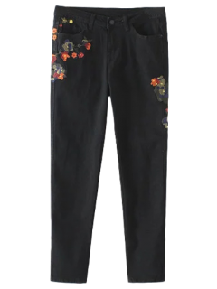Slim Floral Embroidered Jeans - Black S
