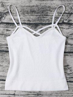 Strappy Cami Knitted Cropped Tank Top - White