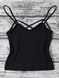 Strappy Cami Knitted Cropped Tank Top - Black