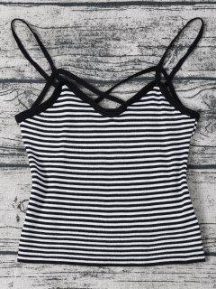 Strappy Cami Striped Knitted Cropped Top - Black