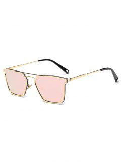 Irregular Double Rims Mirrored Sunglasses - Pink