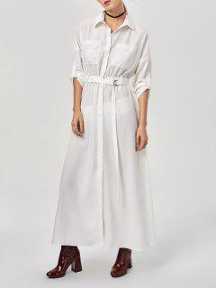 Button Up Belted Maxi Shirt Dress - White S