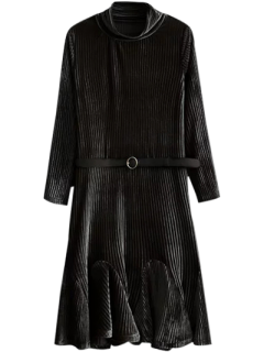 Velvet Pleated Mermaid Dress - Black S