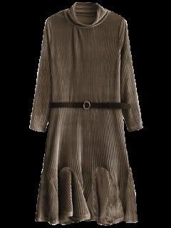 Velvet Plissé Robe De Sirène - Café S