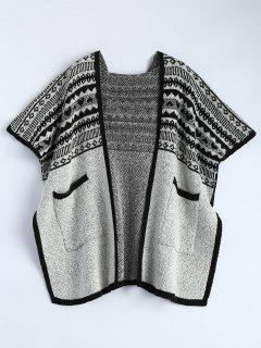 Hooded Poncho Cardigan With Pockets - Black And Grey