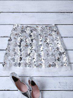 Paquete De Glúteos Mini Falda Sequines - Plata S