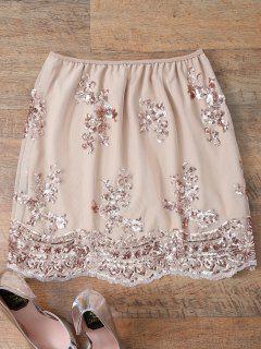 A Line Sequins Skirt - Pinkbeige S