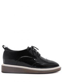 Ate Para Arriba Grabado Zapatos De La Cuña Del Cuero De Patente - Negro 38