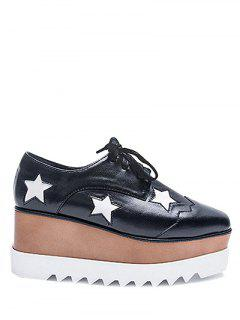 Square Toe Stars Tie Up Wedge Shoes - Black 38