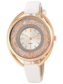 Faux Leather Rhinestone Analog Quartz Watch - White