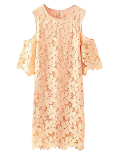 Lace Cold Shoulder Dress - Pinkbeige L