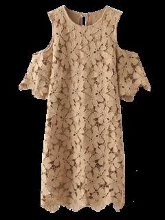 Lace Cold Shoulder Dress - Khaki M