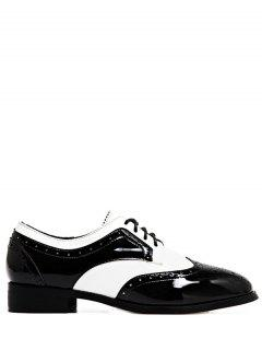 Lace Up Two Tone Wingtip Flat Shoes - White And Black 37