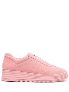 PU Leather Tie Up Round Toe Athletic Shoes - Pink 38