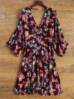 Wide Sleeve Floral Print Crossover Dress - Burgundy L