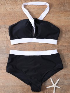 High Waist Color Block Bikini Set - White And Black S
