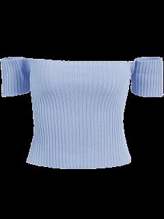 Off The Shoulder Rib Knit Crop Top - Light Blue