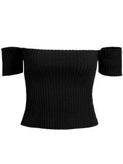 Off The Shoulder Rib Knit Crop Top - Black