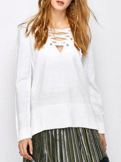 V Neck Lace-Up Sweater - Blanc Xl