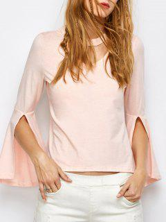Flare Sleeved Choker T-Shirt - Pink S