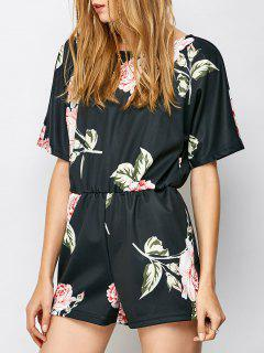 Cut Out Floral Romper - Black S