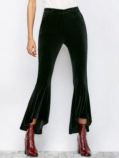 Velvet High Low Boot Cut Pants - Black S