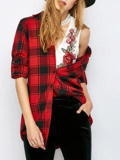Longue Vérifié BF Style Shirt - Rouge S