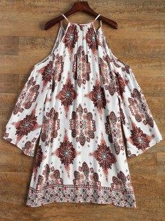 Robe Mini Imprimée à épaules Dénudées à Manches Longues - Blanc M
