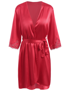 Faux Silk Outerwear And Slip Dress Loungewear - Bright Red L