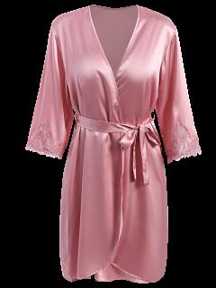 Faux Silk Outerwear And Slip Dress Loungewear - Papaya L