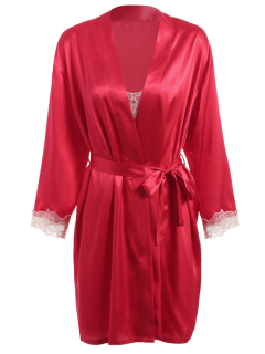 Faux Silk Robe Outerwear And Slip Dress - Bright Red L