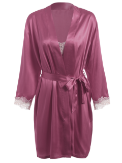 Faux Silk Robe Manteaux Et Slip Dress - Violacé Rouge L