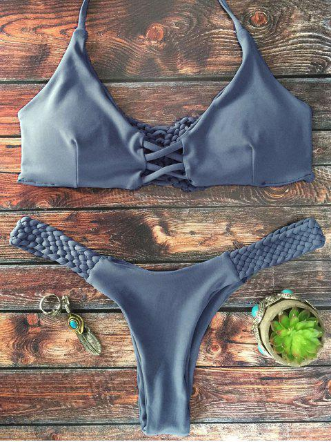 Cami geflochtenes High Bein Bikini Set - Grau M Mobile