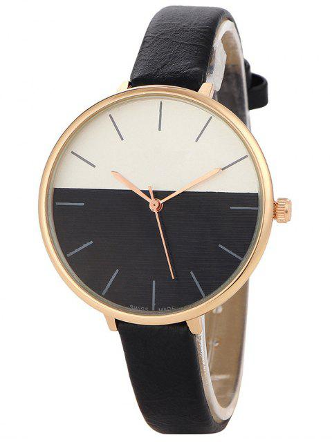 unique Color Block Quartz Watch - BLACK  Mobile