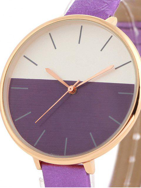 buy Color Block Quartz Watch - PURPLE  Mobile
