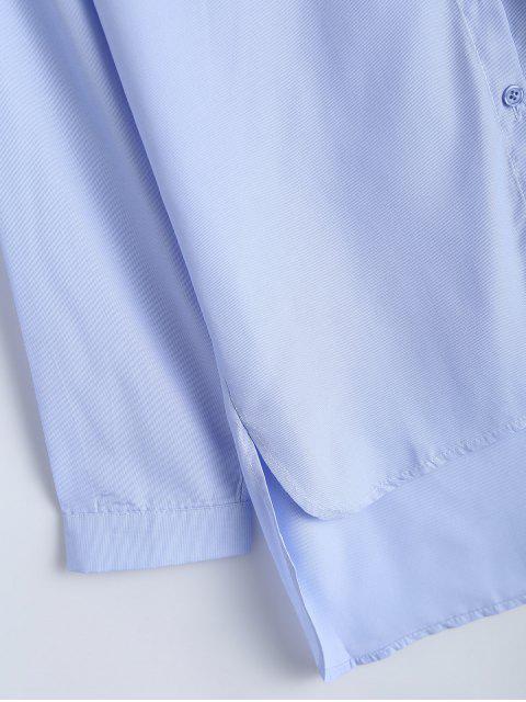 womens Uneven Hem Striped Miitary Patches Shirt - LIGHT BLUE L Mobile