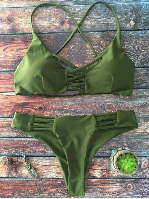 buy Lace-Up Cutout Strappy Bikini Set - GREEN L Mobile
