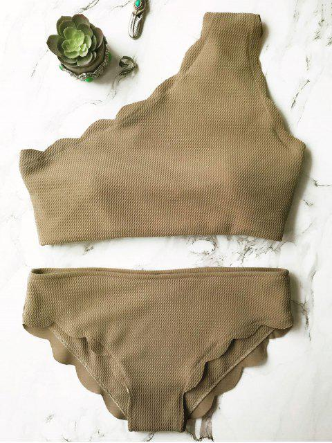 fashion Wireless Scalloped One Shoulder Bathing Suit - GREY OLIVE M Mobile
