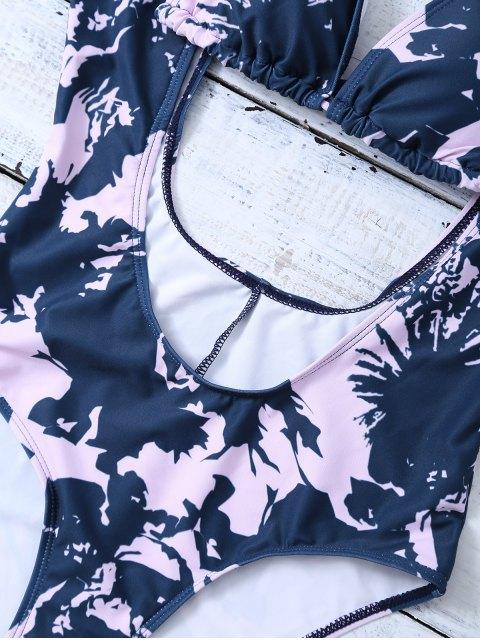 Low Cut Imprimé Maillot de bain et Halter Bikini Top - Bleu et Rose M Mobile