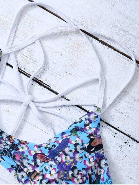 hot Strappy Lattice Tiny Floral Bikini - BLUE M Mobile