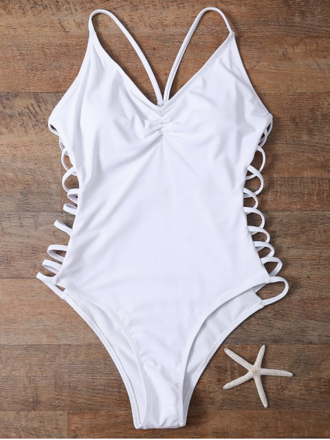 best Cutout High Cut One-Piece Swimwear - WHITE S Mobile