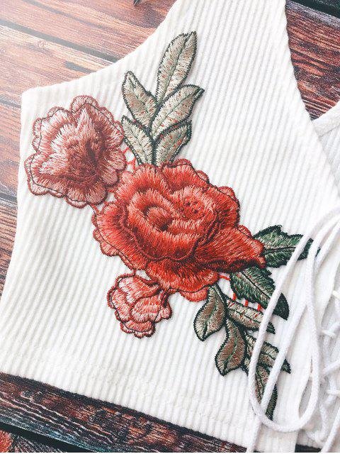 unique Lace Up Embroidered Knitted Cropped Tank Top - WHITE ONE SIZE Mobile