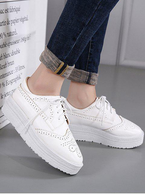 womens Faux Leather Wingtip Tie Up Platform Shoes - WHITE 39 Mobile