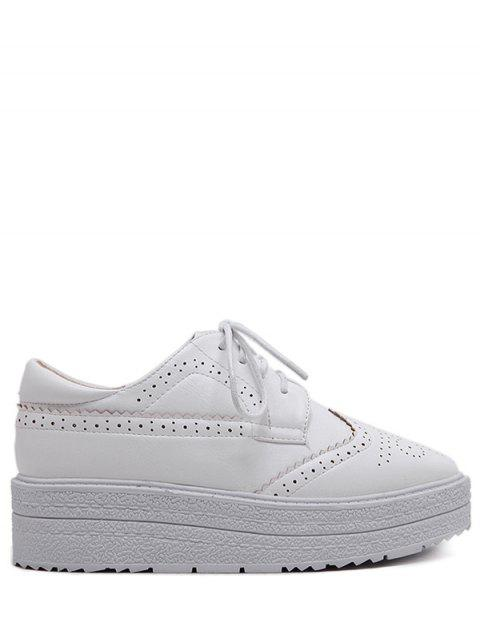 women's Faux Leather Wingtip Tie Up Platform Shoes - WHITE 38 Mobile
