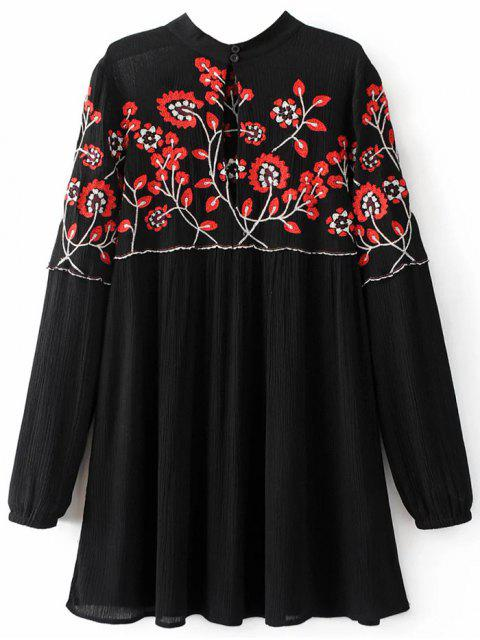 best Stand Neck Floral Embroidered Dress - BLACK S Mobile