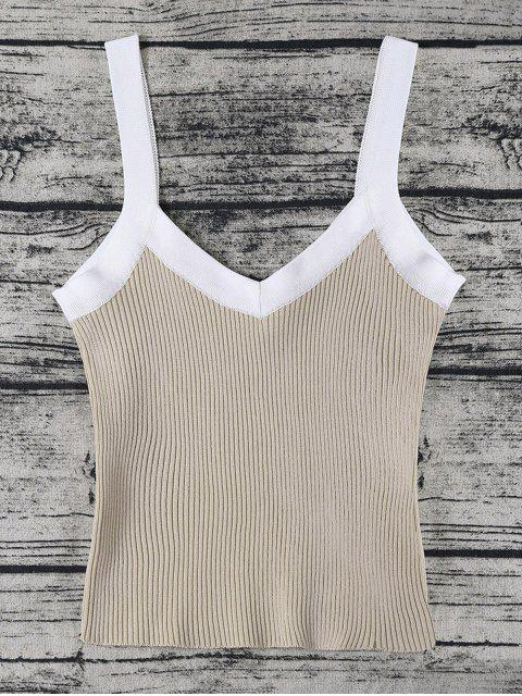 hot Color Block Knitted Ribbed Tank Top - KHAKI ONE SIZE Mobile